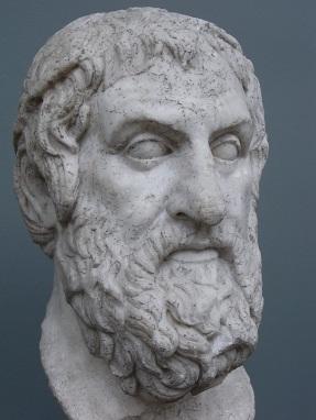 Busto de Sófocles, creador de Edipo Rey, ejemplo paradigmático de tragedia según Aristóteles.
